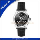 Relógio suíço de quartzo do movimento da venda quente com reserva da potência da faixa do couro genuíno