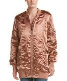 Оптовой куртки бомбардировщика хлопка женщин Silk Ruched сатинировкой