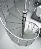 Escadaria da espiral do aço inoxidável com o passo do vidro Tempered