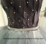 Vestidos nupciais pretos de vestidos de casamento do vestido de noite da pena