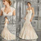 Милая рельефная кружева Русалки свадебные платья устраивающих Gowns (8185)