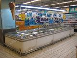 スーパーマーケットの水平の深い島のフリーザー