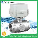 3 robinet à tournant sphérique motorisé électrique de l'acier inoxydable Cwx-15n de la voie Ss304