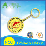 中国の卸し売りカスタム金属のコネクターが付いている模造旧式な金カラー海賊ロゴの頭骨Keychain