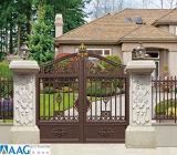 Porta do pátio da guarda de alumínio e artística porta dianteira