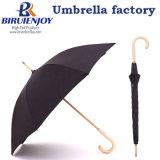文学的な色のポプラの木製の補強は Windproof まっすぐな傘 300t 混合した 糸の陽イオン布の長いハンドル傘の人および女性