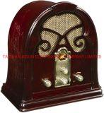 De madera hechos a mano antiguo de la Radio con altavoz estéreo con CE