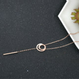 Ladies Fashion Costume Necklace Stainless Steel Roman Numerals Jewelry Pendant