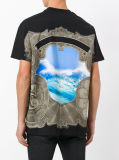 T-shirt multicolore d'impression d'océan du coton des hommes