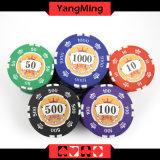 as microplaquetas puras do póquer da argila da etiqueta de 760PCS 12g ajustaram-se para o jogo de jogo com caso de alumínio com número e logotipo UV Ym-Sghg003