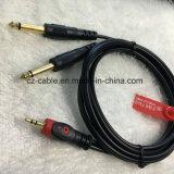 AV кабеля, штепсельной вилки Stereo Fisheye 3.5mm к кабелю телефона штепсельной вилки 2*6.35mm Mono