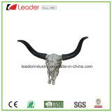 Scultura lunga di attaccatura di parete della testa del cranio della mucca del corno di vendita calda con colore bianco antico per la decorazione domestica