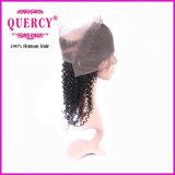Frontal rizado sin procesar sin procesar peruano 100% de 360 cordones del pelo humano de la Virgen de Remy de la Virgen
