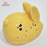 Giften van weinig de Gele Kerstmis van het Konijn & Reeks van de Houder van de Kaars Tealight van het Decor de Ceramische