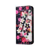 Het Geval van de Telefoon van de Tik van het Leer van de Luxe van de Diamant van de Bloem van de douane voor iPhone 7