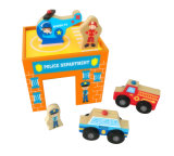 Hote 크리스마스 선물 6PCS 아이를 위한 나무로 되는 비상사태 차량 실행 고정되는 장난감