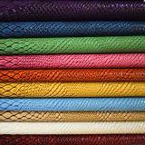 Modèle de crocodile à haute résistance à l'abrasion PU en cuir pour sacs (HTS020)