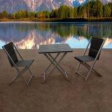 耐久の良質の黒の金属の屋外のレストランの家具のアルミニウム折るテラスの椅子表セット