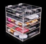 Organizador de acrílico del maquillaje de 5 gradas con el divisor en cada cajón