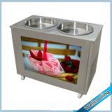 Double en acier inoxydable Pan Fry Machine de crème glacée de rouleau