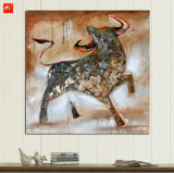 Handmade Tableau-mur Bull Huile sur toile