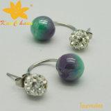 Tmer-003 Tourmaline di colore verde 10mm con gli orecchini di goccia di cristallo