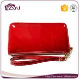 Мягкий кожаный бумажник, бумажник застежки -молнии неподдельной кожи портмона муфты женщин