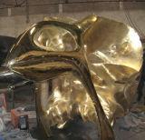 Der goldene Vogel-Schädel-Kopf, Innenim freiengarten-Quadrat-Metalskulptur