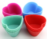 Nahrungsmittelgrad-Liebes-Inner-Form-Silikon-Muffin-Cup, die Tellersegment-Kuchen-Formen glühen