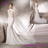 Elegantes Guipurespitze-Mieder-Nixe-Hochzeits-Kleid mit Halter-Stutzen
