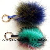 Trousseaux de clés mélangés de bille de fourrure d'article truqué/Faux de couleur