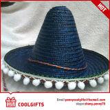 Chapéu de palha grande ao ar livre do México com Bump Pompoms Balls