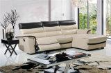 Sofá de la sala de estar con el sofá moderno del cuero genuino fijado (434)