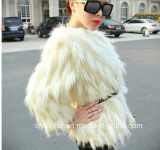 2014 nueva moda de lujo en Faux Fur Racoon o gradiente de cuello cubierto de pelo largo Botón Fake Fur Coat Chaqueta de invierno de la mujer