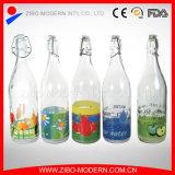 bottiglia di acqua bevente di vetro della spremuta personalizzata 500ml con il coperchio della clip