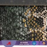 袋のための浮彫りにされた金塵PVC総合的な革物質的なSnakeskin革ファブリック