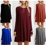 Ladies 'Plain Simple Casual T-shirt de manga comprida Loose Fit Dresses