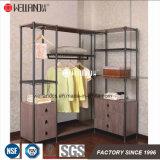 Mobília Aço-De madeira dobro moderna de Rod do quarto do organizador do vestuário e da cremalheira do Wardrobe