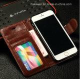 Caisse en cuir d'unité centrale de chiquenaude de luxe de qualité pour la couverture de téléphone portable de l'iPhone 6/6s de cas de l'iPhone 5/Se