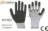 Hppe Cut-Resistance ondulada recubierto de látex guante de trabajo de seguridad (H1101)