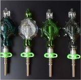 De Collector van de nectar met Met water gekoelde Booreiland van de pijp van het Glas van de Pijpen van het Glas van de Spijker van het Titanium van 14mm Wearable Rokende En Spillproof
