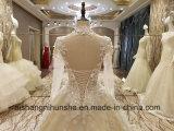 Abend-Kleid-lange Hülse bördelte eine Zeile langes Abschlussball-Kleid