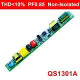 6-20W Thd<10% Hpf EMC QS1301A를 가진 비고립 LED 관 빛 운전사