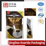 Granos de café superiores de la cremallera que empaquetan el bolso con el papel de aluminio de la válvula