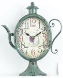 Vintage verde antigo decorativas chaleira Shape Metal Relógio do tampo da mesa