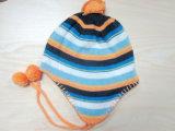 Chapéu da forma do menino listra colorida & lenço & luvas feitos malha para o inverno