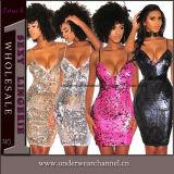 Sequins di modo di alta qualità fuori dal vestito dalla fasciatura tagliato spalla