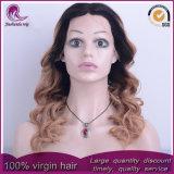 2t de Malasia de onda de cuerpo de color rubio delantero cabello peluca de encaje