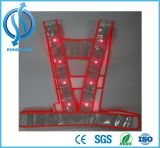 Vestes vermelhas da luz do diodo emissor de luz da segurança e da segurança para a segurança de construção