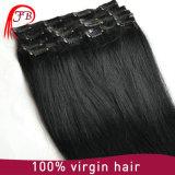 Волосы девственницы Barzilian выдвижения человеческих волос черного цвета Clip-on